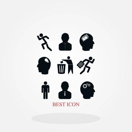 black working businessman icon, flat design best vector icon