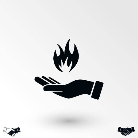 hand holding a fire icon, flat design best vector icon