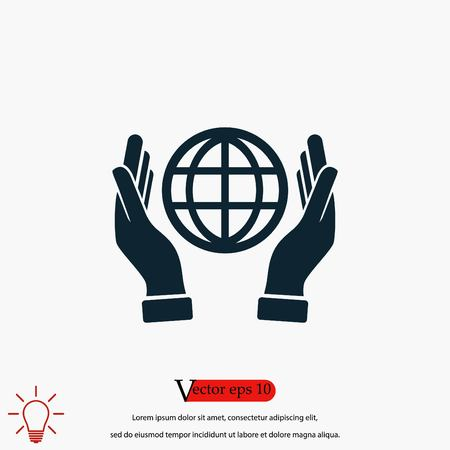 hand hold globe - vector icon, flat design best vector icon