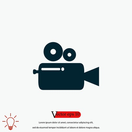 Cinema camera icon, flat design best vector icon