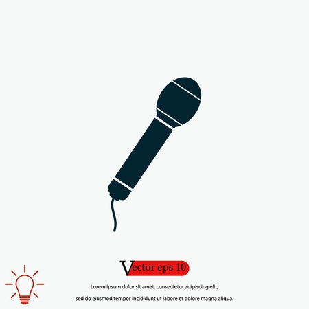 Microphone vector icon, flat design best vector icon 向量圖像