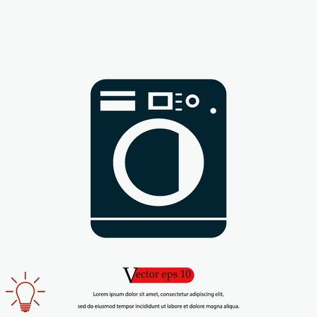 Washing machine icon, flat design best vector icon Illustration