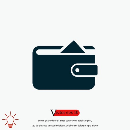 Flat long shadow Wallet icon, flat design best vector icon