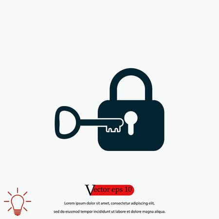 Lock and key vector icon, flat design best vector icon
