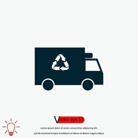 Recycle truck icon, flat design best vector icon 向量圖像