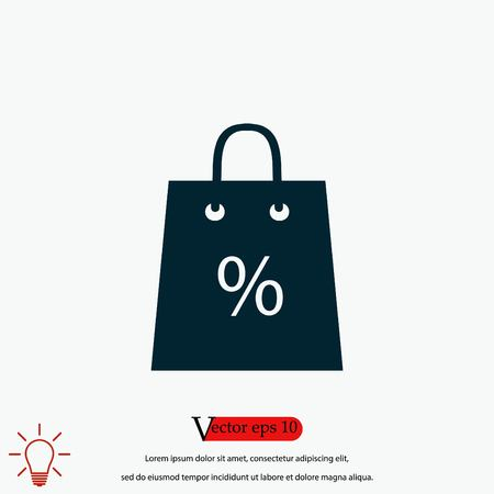 Shopping bag with the sale, discount, percentage symbol icon, flat design best vector icon 向量圖像