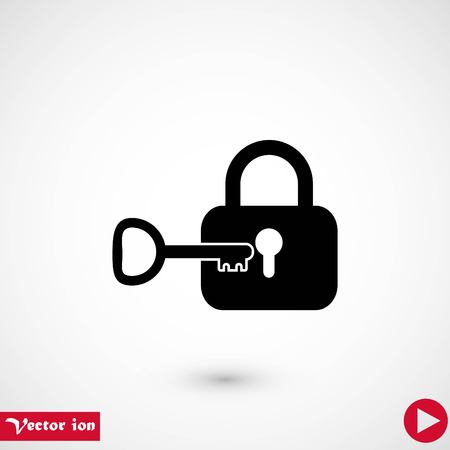 Lock and key vector icon, flat design best vector icon Stock fotó - 111860531
