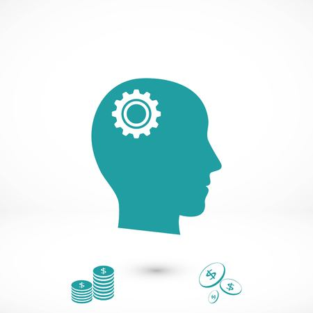 Pictograph of gear in head icon, flat design best vector icon Иллюстрация