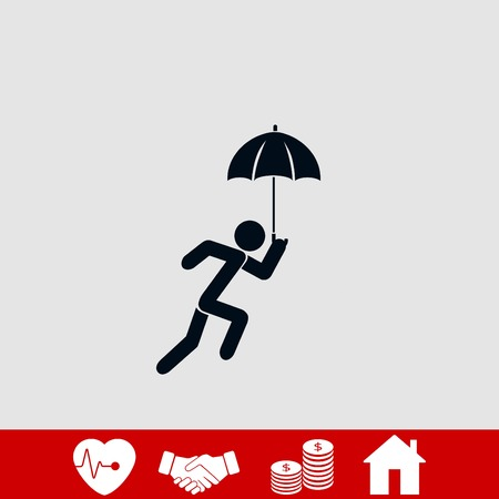 A person with an umbrella icon, flat design best vector icon 矢量图像