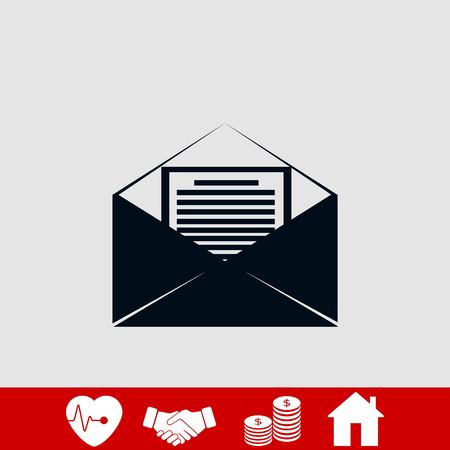 Mail sign icon, flat design best vector icon