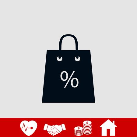 Shopping bag with the sale, discount, percentage symbol icon, flat design best vector icon 일러스트