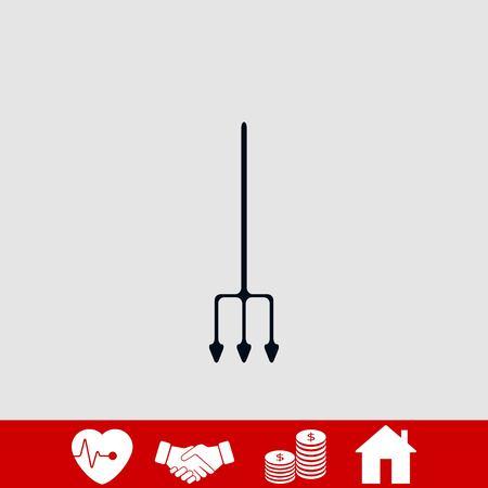 Garden fork vector icon, flat design best vector icon Vettoriali