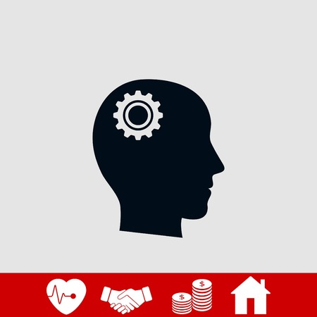 Pictograph of gear in head icon, flat design best vector icon Illustration