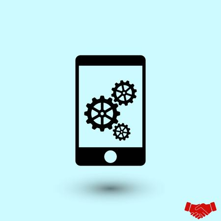 phone icon with settings, flat design best vector icon
