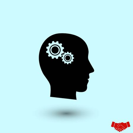 Pictograph of gear in head icon, flat design best vector icon Stock Illustratie