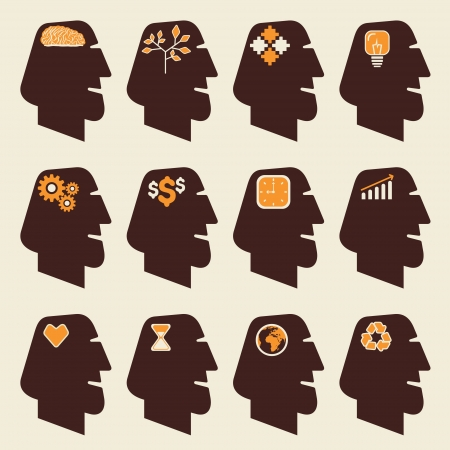 different icon in human head vector