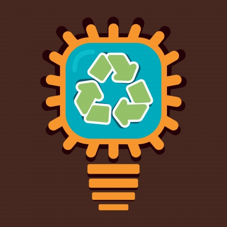 recycle symbol in bulb vector Vector