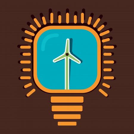 windfarm: mulino a vento in lampadina concetto di vettore Vettoriali