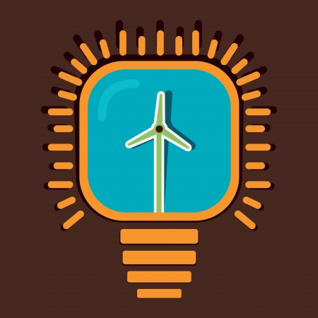 wind mill in bulb concept vector Vector