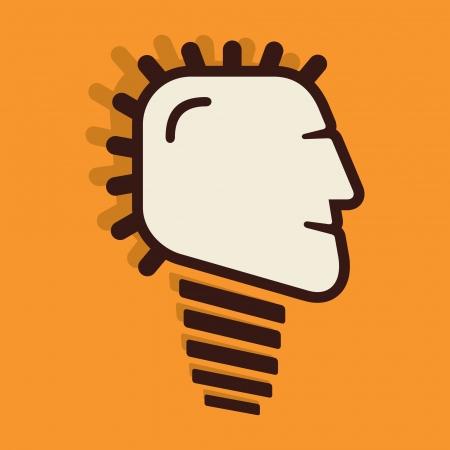 creative bulb face design vector