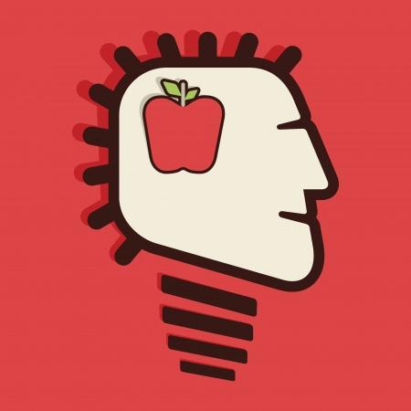 shaved head: apple in human head vector