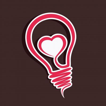 heart in bulb vector