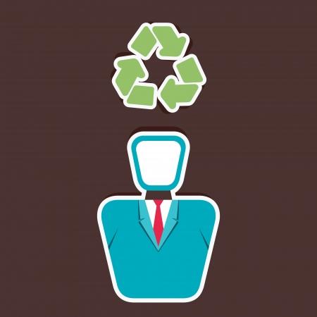 recycle symbol on human head vector Vector