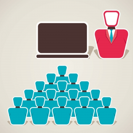 computer training: leader giving presentation vector Illustration