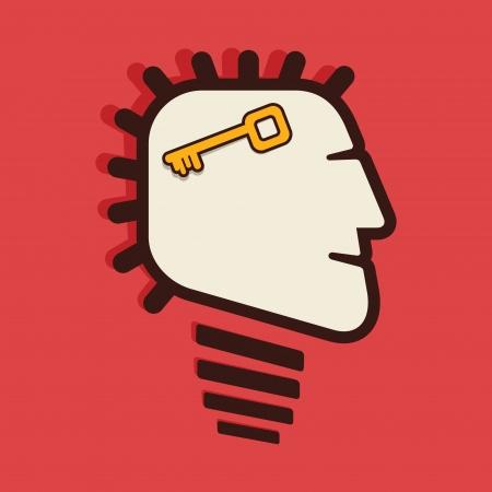 activacion: clave en vector cabeza humana