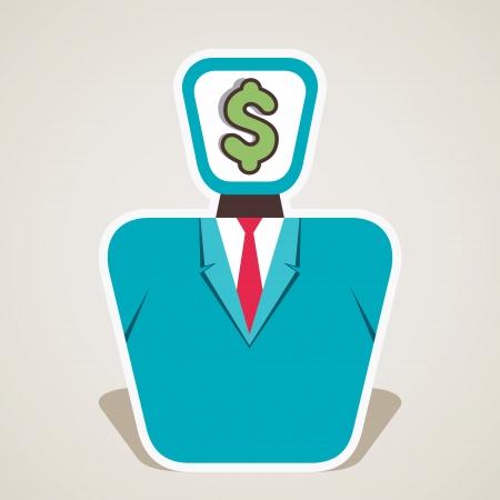 bureaucrat: dollar symbol on businessmen face vector Illustration