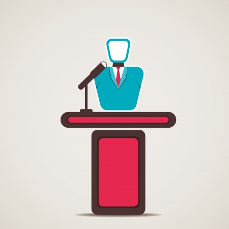 conference speaker: entrepreneur or lecturer vector Illustration