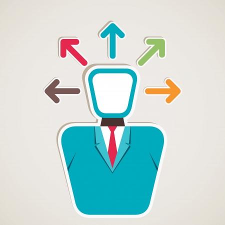 unsolvable: businessmen think multi-direction arrow vector Illustration