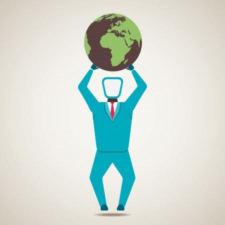 foundation problems: men lift the globe world vector