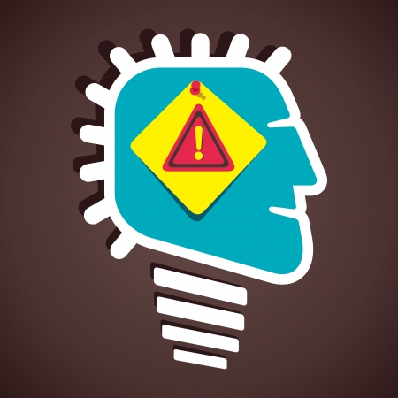 imperil: hazard attention sign in human head stock vector