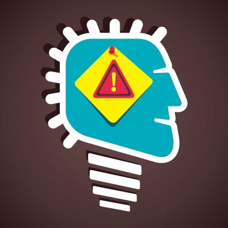 corduroy: hazard attention sign in human head stock vector