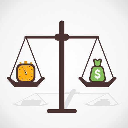 payday: time and money both have equal importance vector Illustration