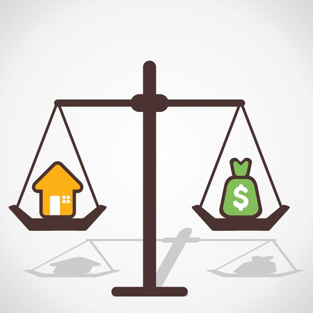 unbalanced: cost of house is equal to you save money vector Illustration