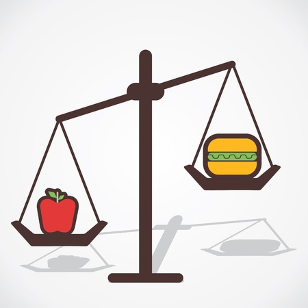 counterpoise: fruit is good for health than fast food vector Illustration