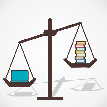 equivalence: laptop is more storage than book vector