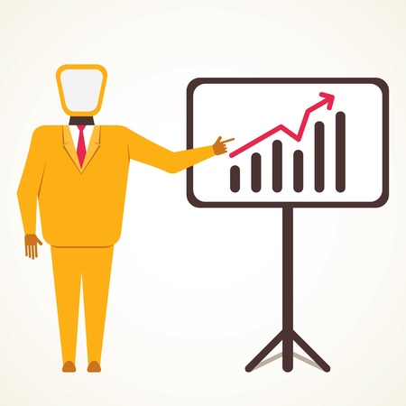 men present business growth graph concept vector Vector