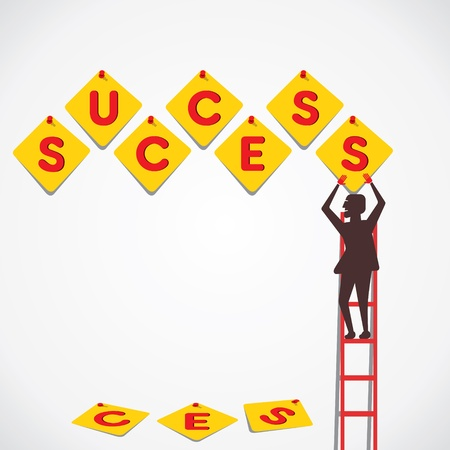 push pin make success word vector Stock Vector - 21197279