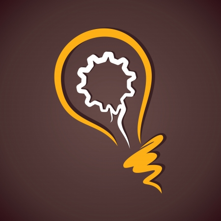 yellow bulb: gear in yellow bulb vector Illustration
