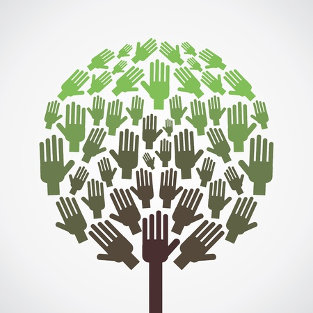 abstract hand tree vector Vector