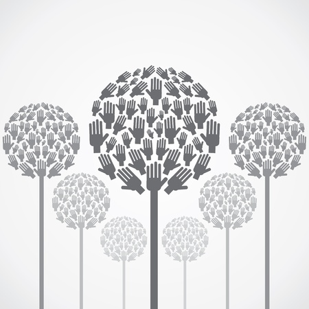 abstract tree design with hand vector Vector