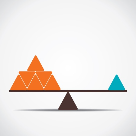 scale model: weighing concept both side equal weigh vector Illustration