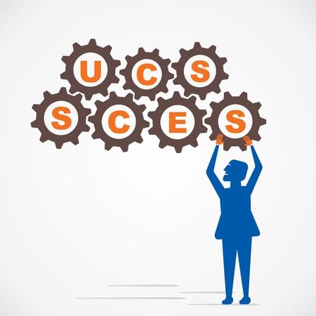 arrange gear and make success word vector Stock Vector - 21197293