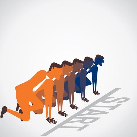 start the race of businessmen vector