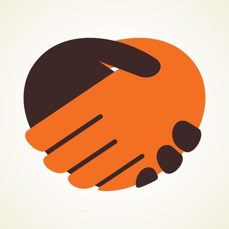 relation: poignée de main icône stock