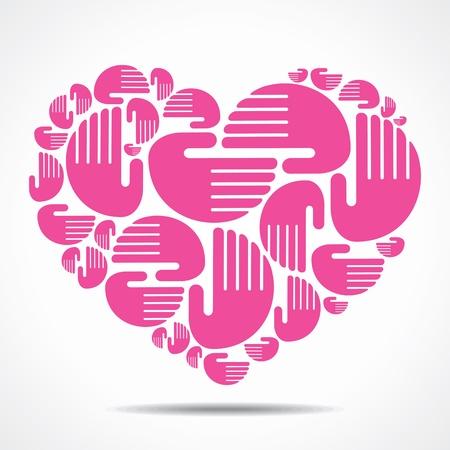 hand arrange in heart shape Иллюстрация