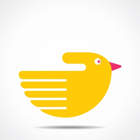 creative hand yellow bird design